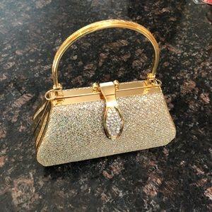 Evening clutch purse gold and clear rhinestone